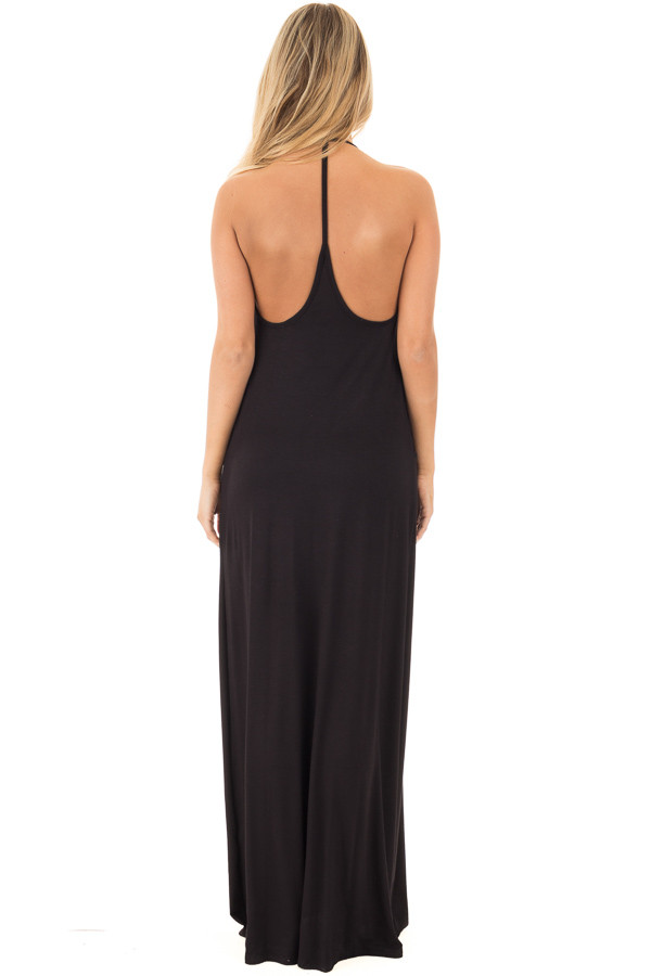 Black Maxi Tank Dress with T Strap Open Back Detail back full body