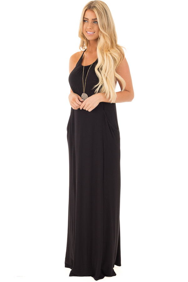 Black Maxi Tank Dress with T Strap Open Back Detail side full body