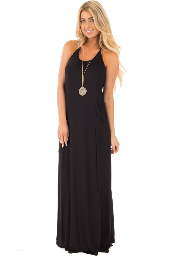 Black Maxi Tank Dress with T Strap Open Back Detail front full body