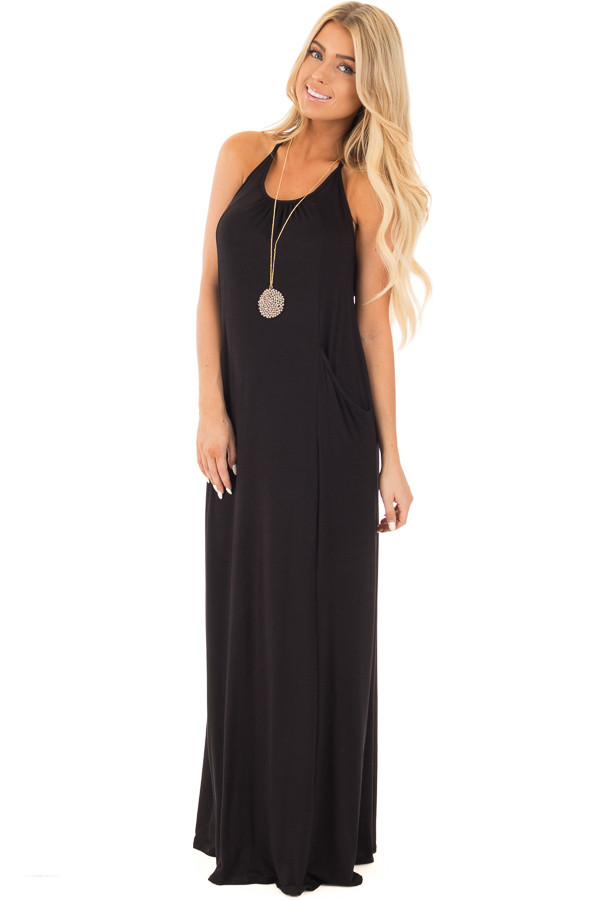 Black Maxi Tank Dress with T Strap Open Back Detail | Lime Lush