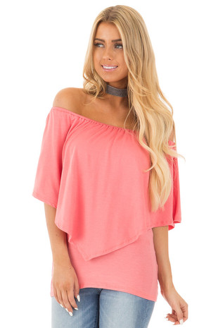 Coral Soft Scoop Neck Top with Long Pointed Bust Overlay front close up