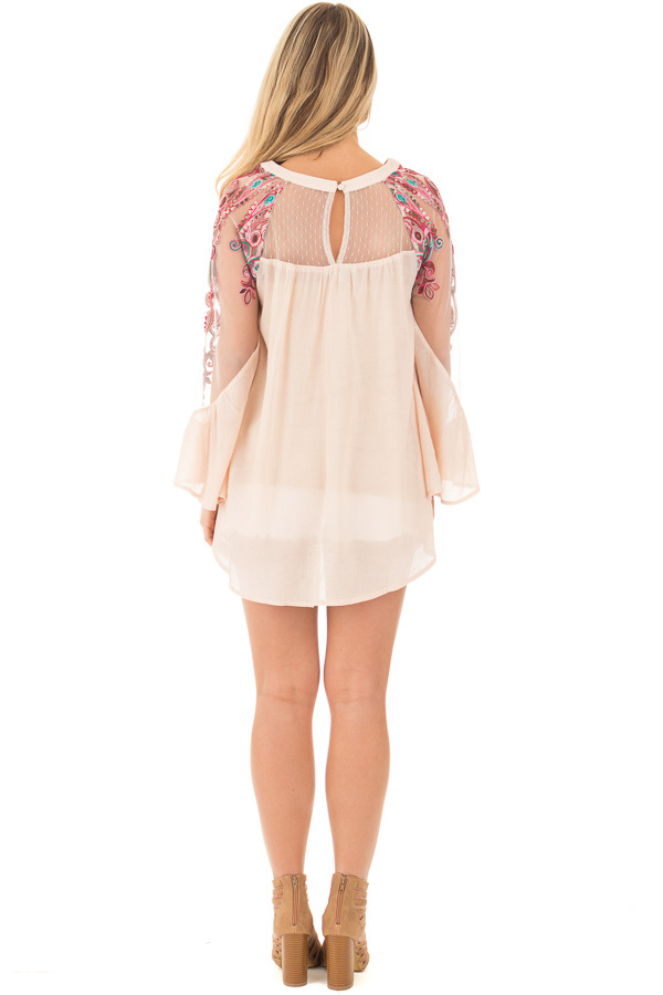 Beige Flowy Blouse with Sheer Embroidered Sleeve Contrast back full body