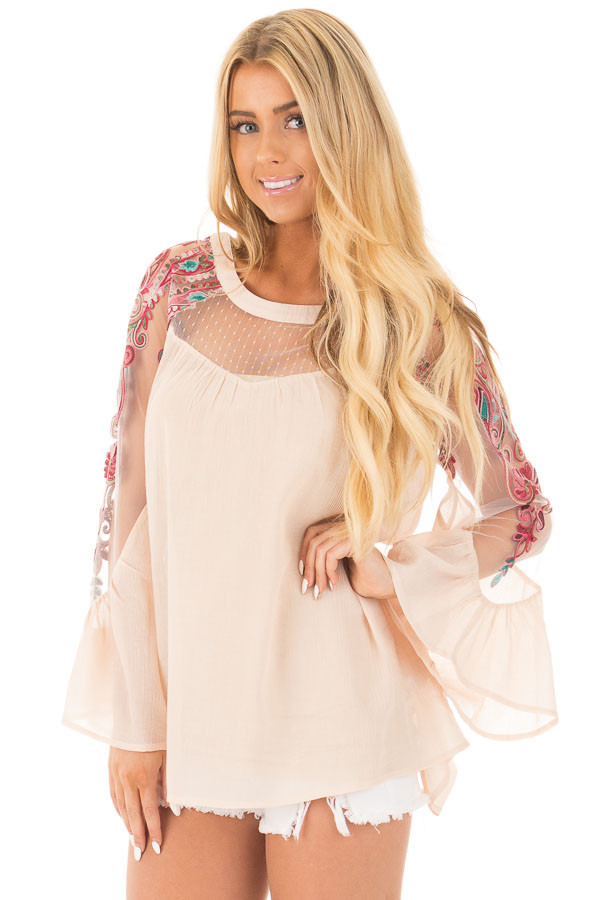 Beige Flowy Blouse with Sheer Embroidered Sleeve Contrast front close up