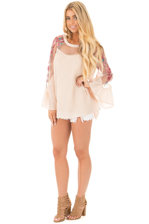 Beige Flowy Blouse with Sheer Embroidered Sleeve Contrast front full body