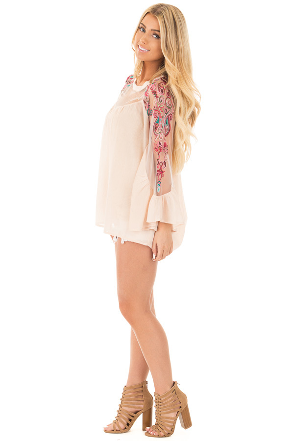 Beige Flowy Blouse with Sheer Embroidered Sleeve Contrast side full body
