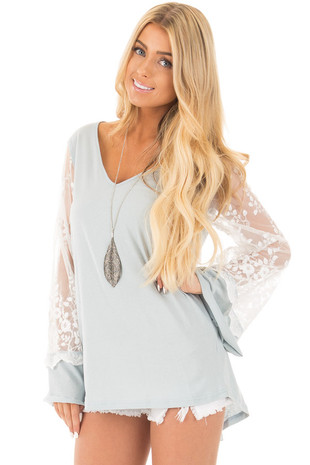 Blue Sage V Neck Tunic Top with Sheer Lace Sleeve Detail front close up