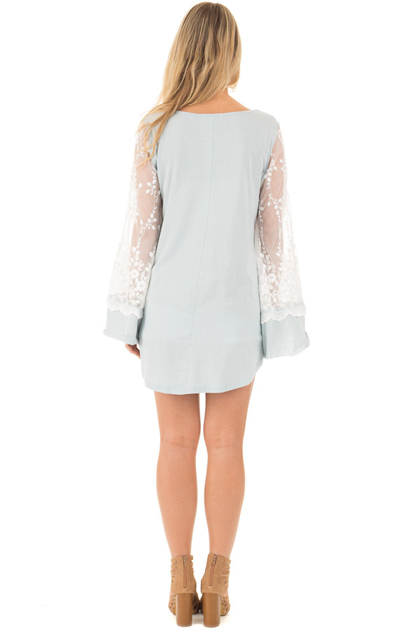 Blue Sage V Neck Tunic Top with Sheer Lace Sleeve Detail back full body