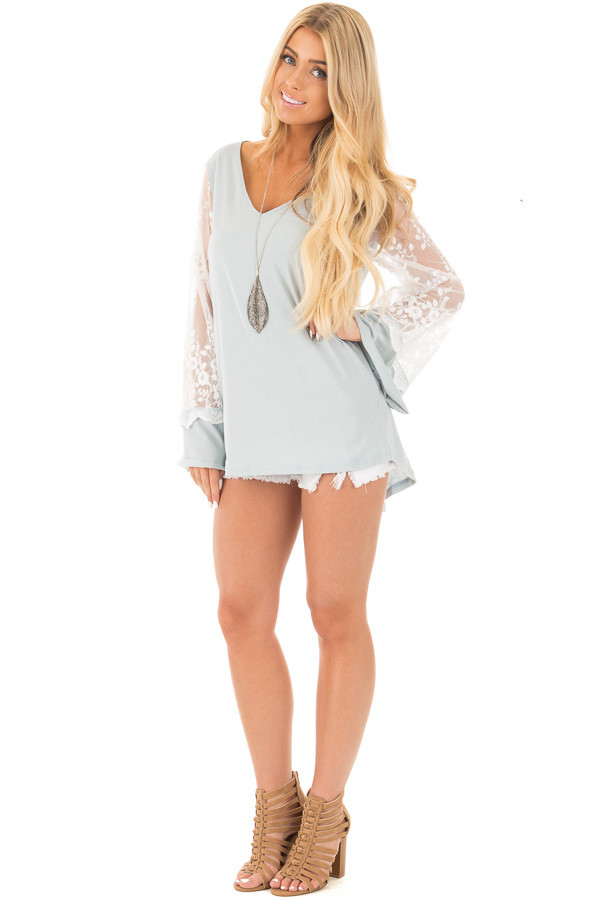 Blue Sage V Neck Tunic Top with Sheer Lace Sleeve Detail front full body