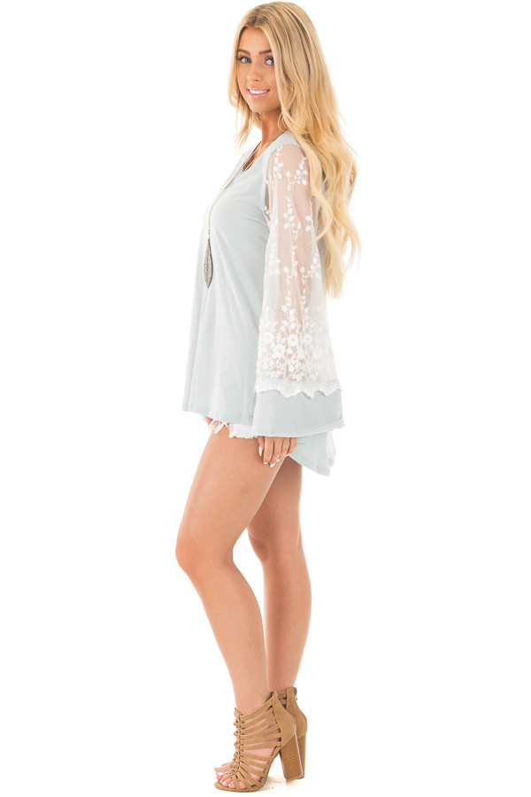 Blue Sage V Neck Tunic Top with Sheer Lace Sleeve Detail side full body