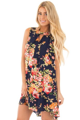 Navy Floral Short Babydoll Dress with Keyhole Neckline front full body