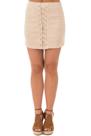 Nude Blush Suede Lace Up Skirt front view