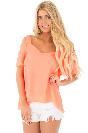 Neon Coral Cold Shoulder Top with Ruffled Sleeve Detail front close up
