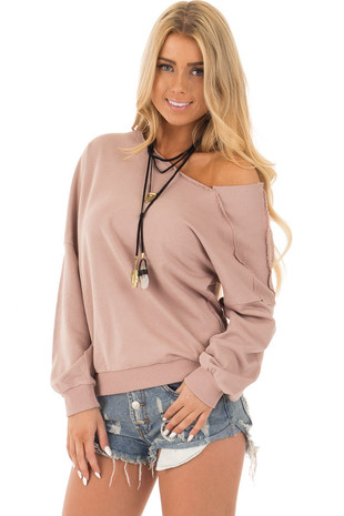 Mauve One Shoulder Raw Seam Detail Sweatshirt front close up