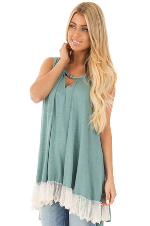 Dark Sage Hi Low Tunic with Keyhole Front and Lace Trim front close up