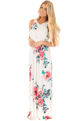 Ivory Floral Print Tank Maxi Dress with Pockets front full body