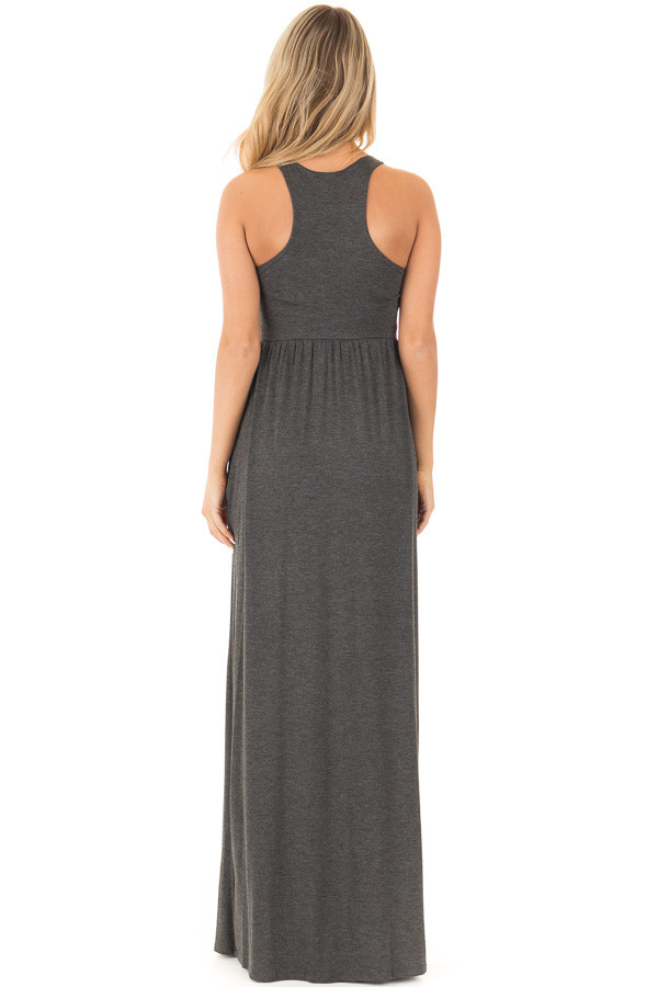 Charcoal Racerback Tank Maxi Dress with Pockets back full body