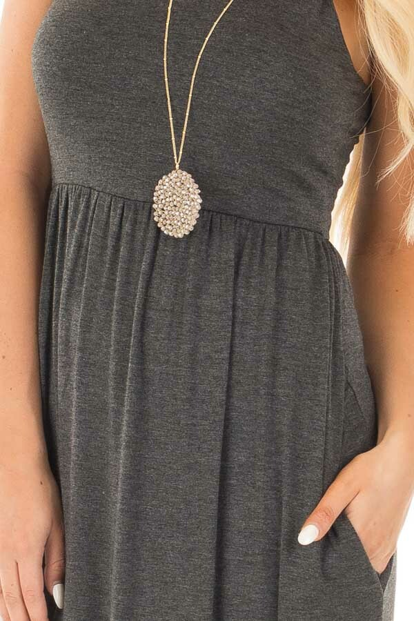 Charcoal Racerback Tank Maxi Dress with Pockets detail