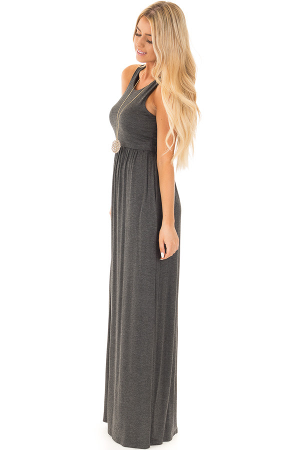Charcoal Racerback Tank Maxi Dress with Pockets side full body