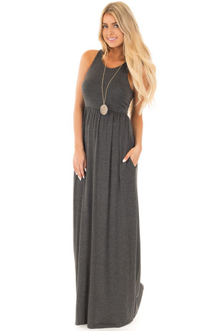 Charcoal Racerback Tank Maxi Dress with Pockets front full body