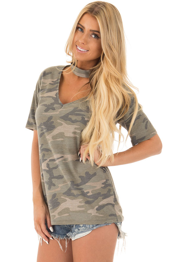 Camouflage Tee with Choker Keyhole V Neck front close up