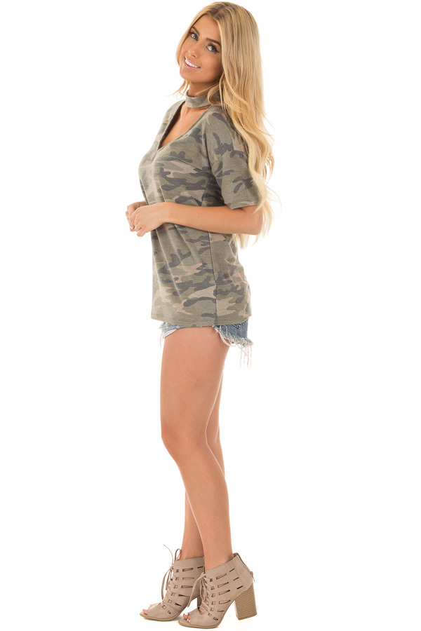 Camouflage Tee with Choker Keyhole V Neck side full body