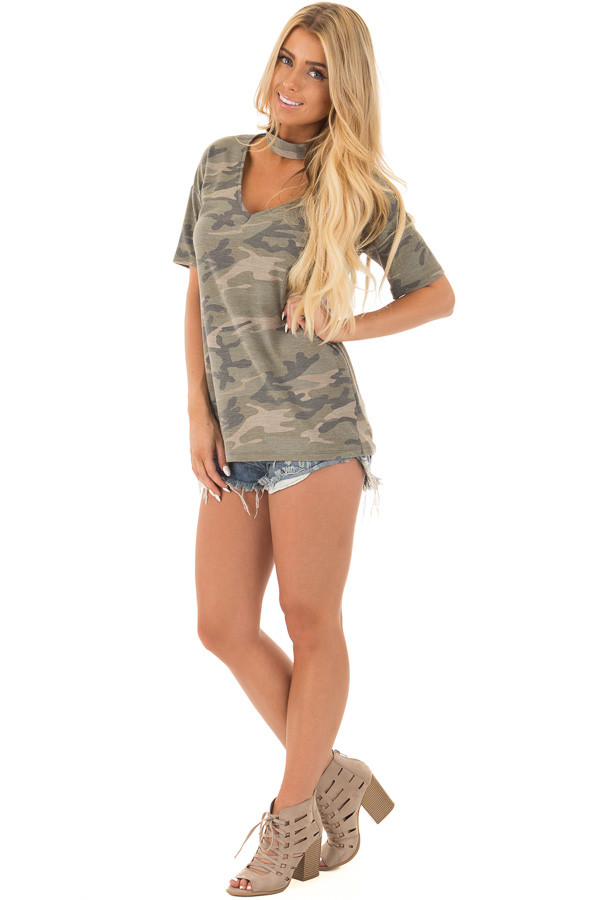 Camouflage Tee with Choker Keyhole V Neck front full body