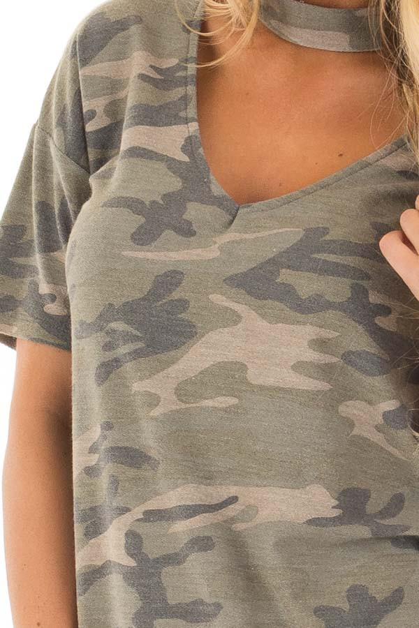 Camouflage Tee with Choker Keyhole V Neck detail