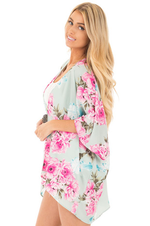 Mint and Blush Large Floral Print Long Kimono side close up