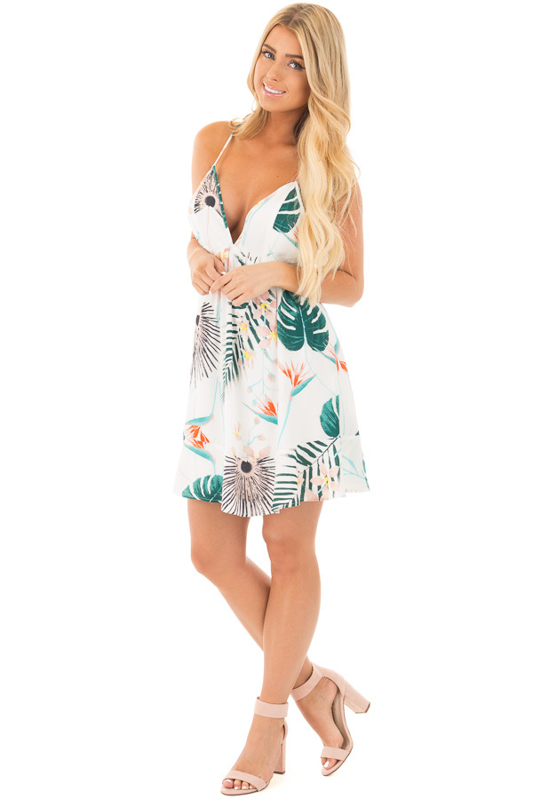 Ivory Tropical Print V Neck Short Dress with Open Back front full body