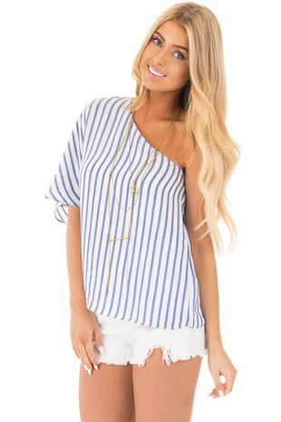 Navy and White Striped One Shoulder Top front close up