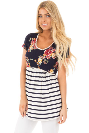 Navy Floral and Stripe Color Block Babydoll Top front close up