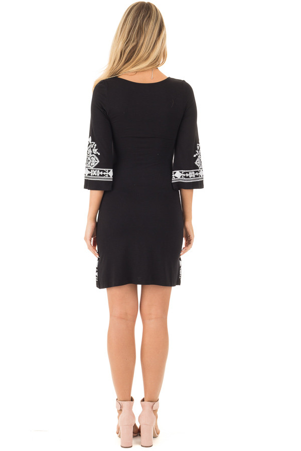 Black 3/4 Sleeve Dress with White Embroidered Detail back full body