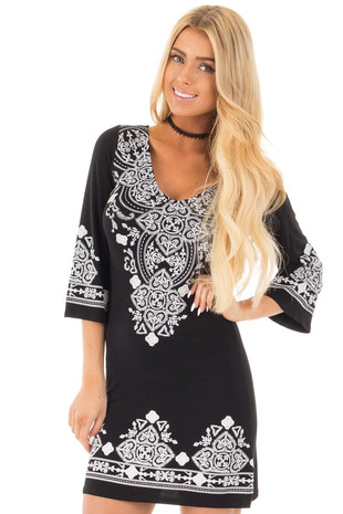 Black 3/4 Sleeve Dress with White Embroidered Detail front close up