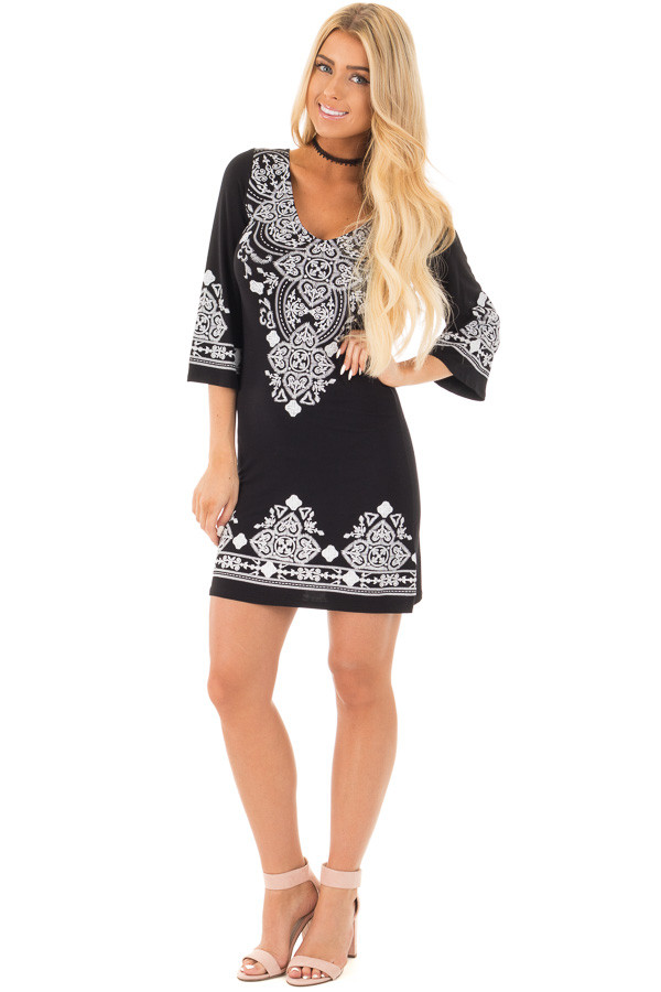 Black 3/4 Sleeve Dress with White Embroidered Detail front full body