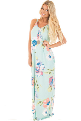 Mint Large Floral Print Maxi Dress with Side Pockets front full body