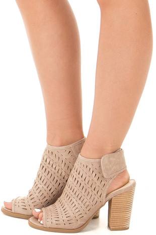 Cream Open Toe Bootie with Cut Out Detail side view