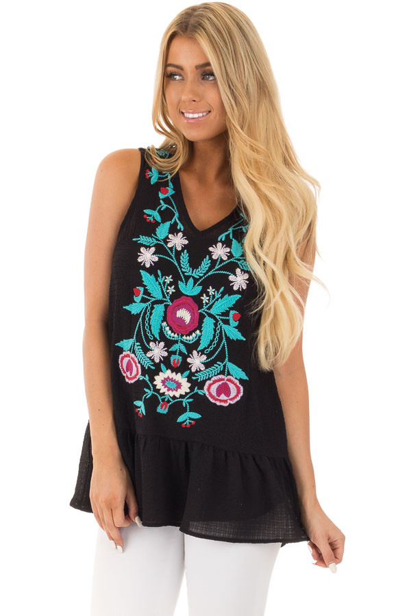 Black and Turquoise Embroidered Tank with Ruffle Hem front close up