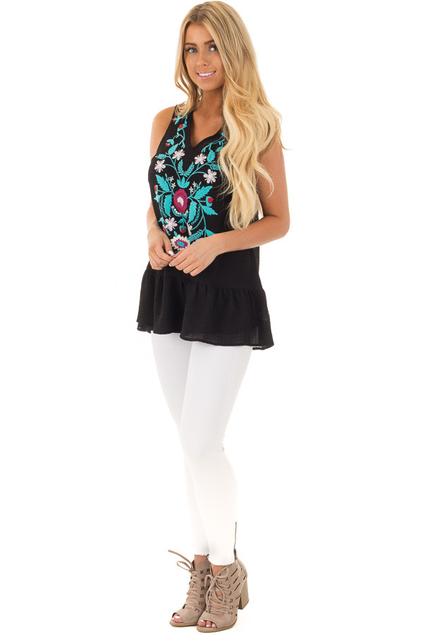 Black and Turquoise Embroidered Tank with Ruffle Hem front full body