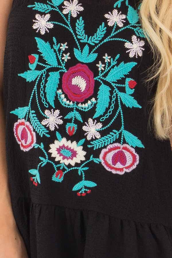 Black and Turquoise Embroidered Tank with Ruffle Hem detail