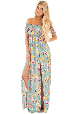 Mint Off the Shoulder Floral Ruched Maxi Dress front full body