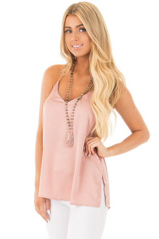 Dusty Rose Silky Tank Top with T Strap Back front close up