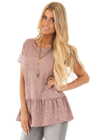 Heather Rose Short Sleeve Tee with Ruffle Bottom Detail front close up