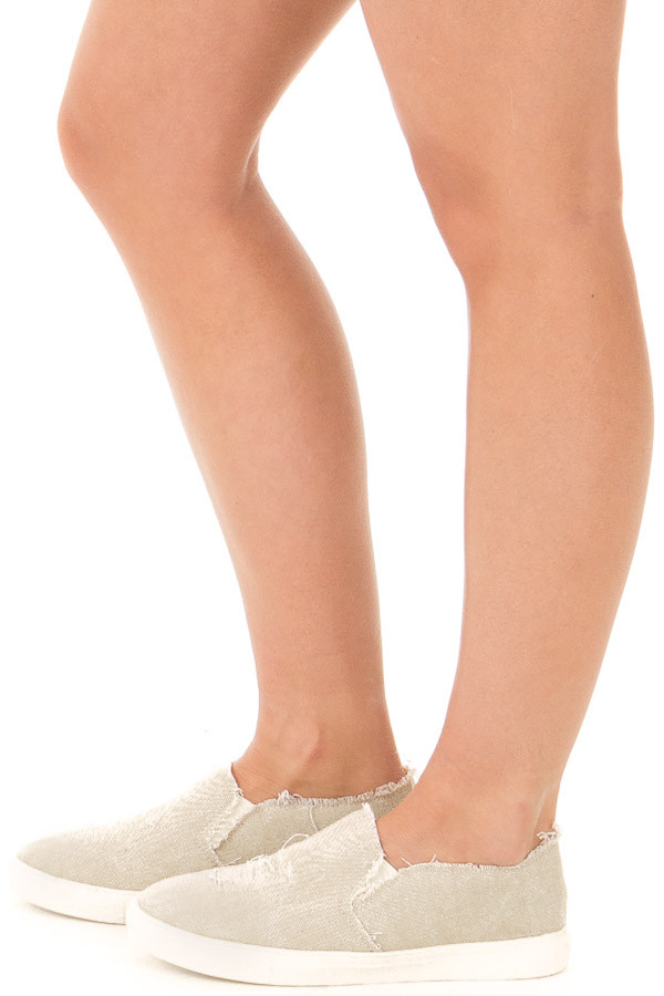 Distressed Beige Casual Slip On Sneakers side view