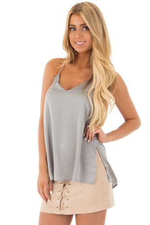 Steel Silky Tank Top with T Strap Back front close up