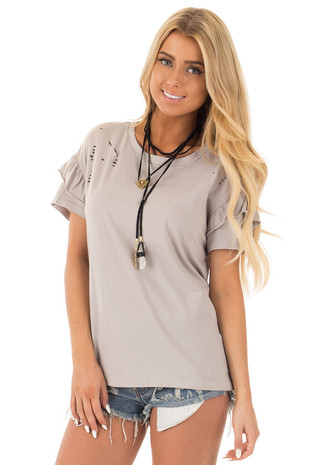 Stone Loose Knit Destroyed Soft Tee with Ruffle Sleeves front close up