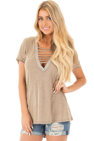 Heathered Taupe Tee with Strappy Deep V Neck front close up
