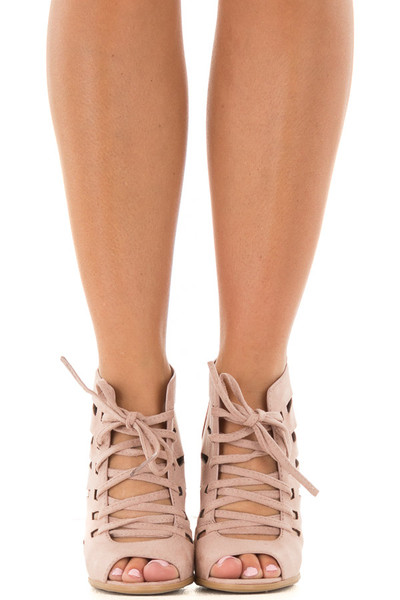 Blush Faux Suede Lace Up Open Toe Bootie and Cutout Detail front view