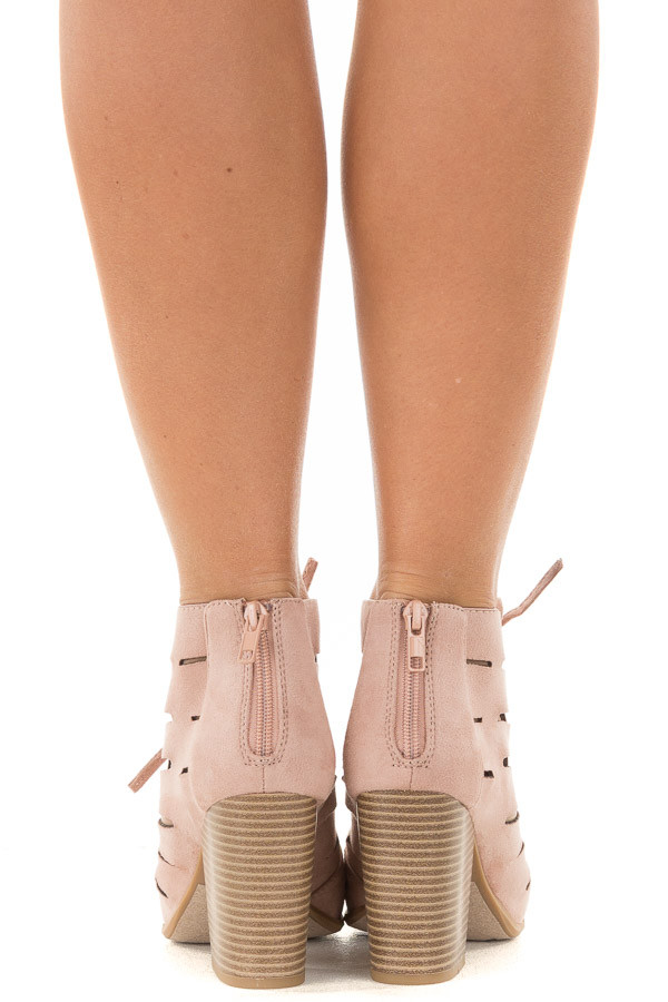 Blush Faux Suede Lace Up Open Toe Bootie and Cutout Detail back view