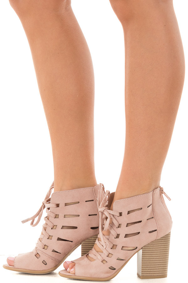 Blush Faux Suede Lace Up Open Toe Bootie and Cutout Detail side view