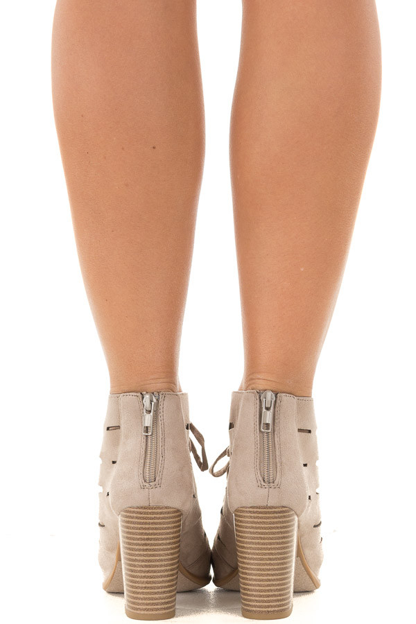 Clay Faux Suede Lace Up Open Toe Bootie with Cutout Detail back view